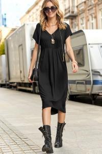 Asymetryczna sukienka z wiskozy czarna M534
