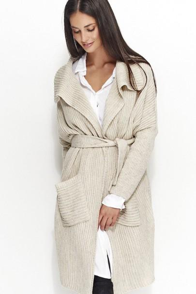 Sweter beżowy z paskiem NU_S21