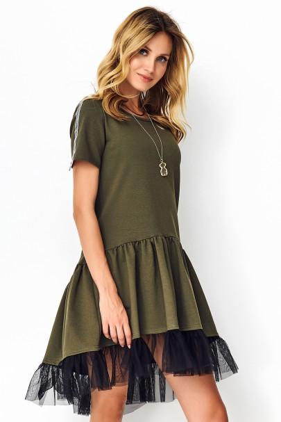 Sukienka z tiulem khaki M536