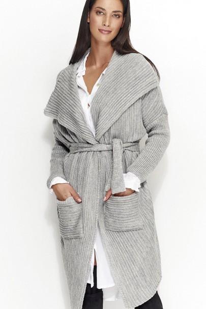 Sweter szary z paskiem NU_S21