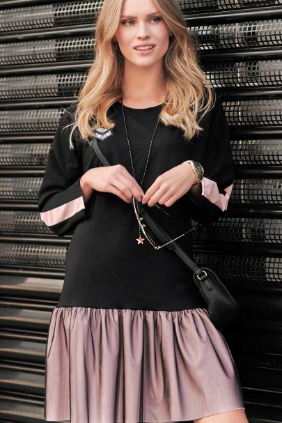 Czarna sukienka z tiulem NU256