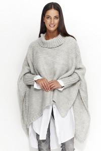 Sweter szary z golfem NU_S23
