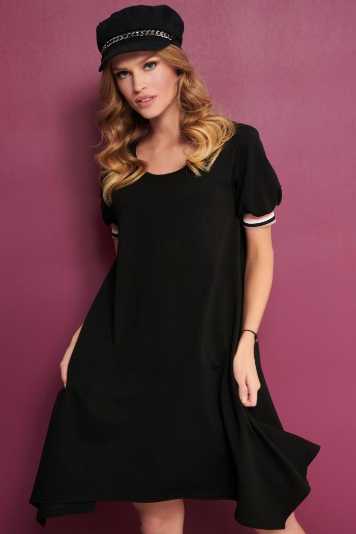 Asymetryczna sukienka czarna NU299