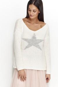 Sweter biały z gwiazdą NU_S26
