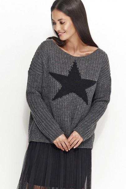 Sweter grafitowy z gwiazdą...