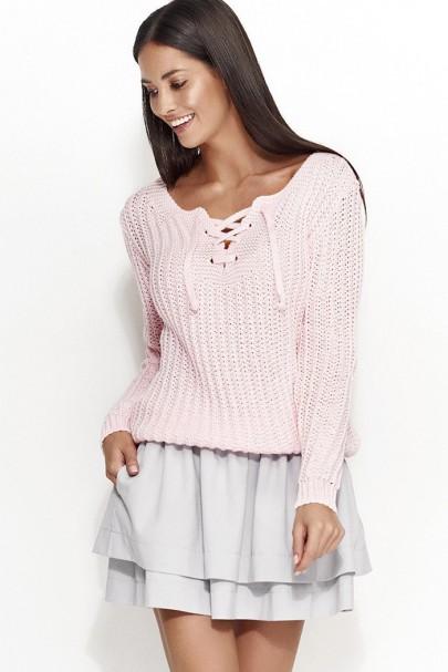 Sweter różowy z wiązaniem...