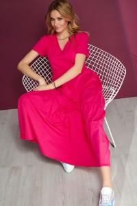 Sukienka maxi z dekoltem w serek fuksja M549