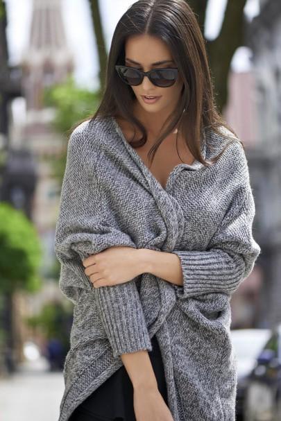 Sweter kardigan szary NU_S30