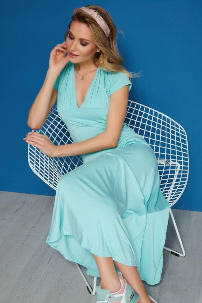 Maxi sukienka miętowa M506