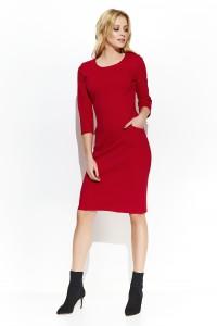 Dopasowana sukienka z kieszeniami czerwona M424