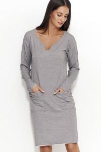 Sukienka szara z kieszeniami NU51