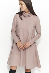 Sukienka cappuccino z golfem NU52