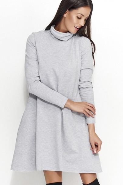 Sukienka szara z golfem NU52