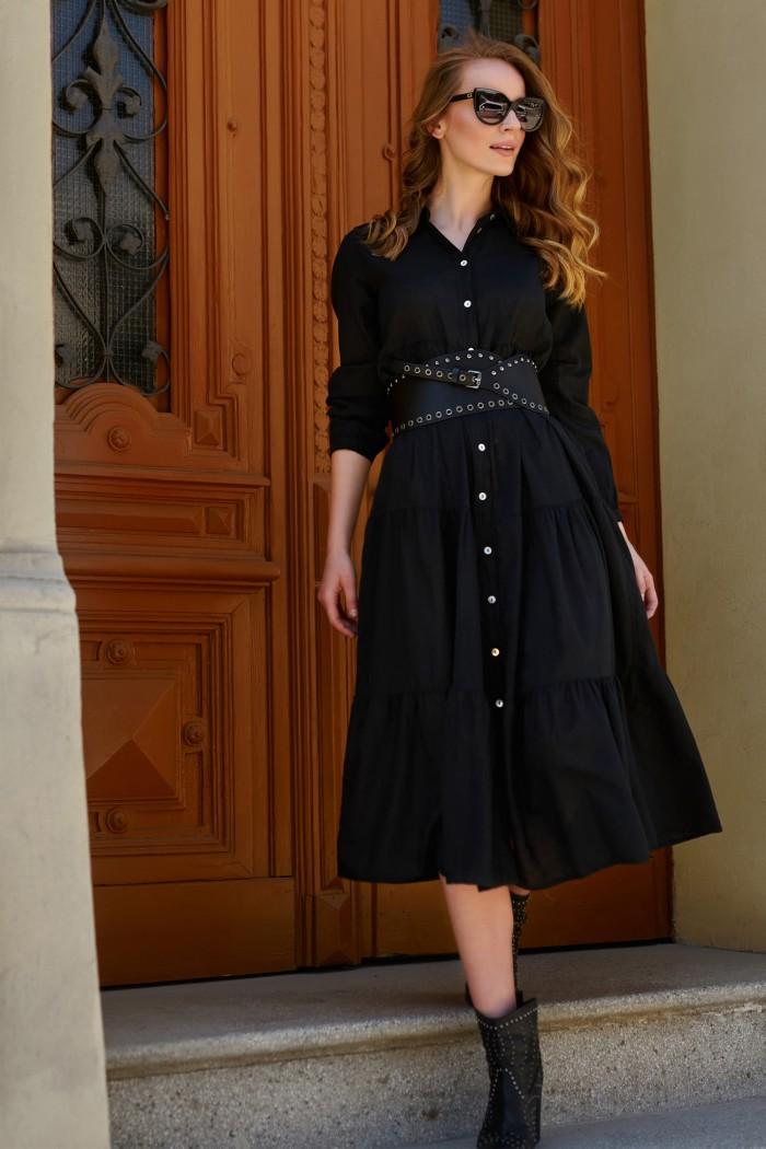 Sukienka koszulowa maxi z guzikami czarna L18