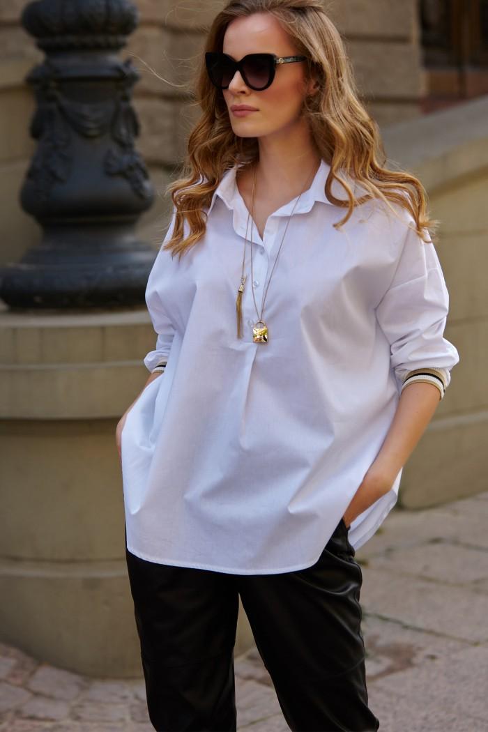 Koszula ze ściągaczami na rękawach biała L12