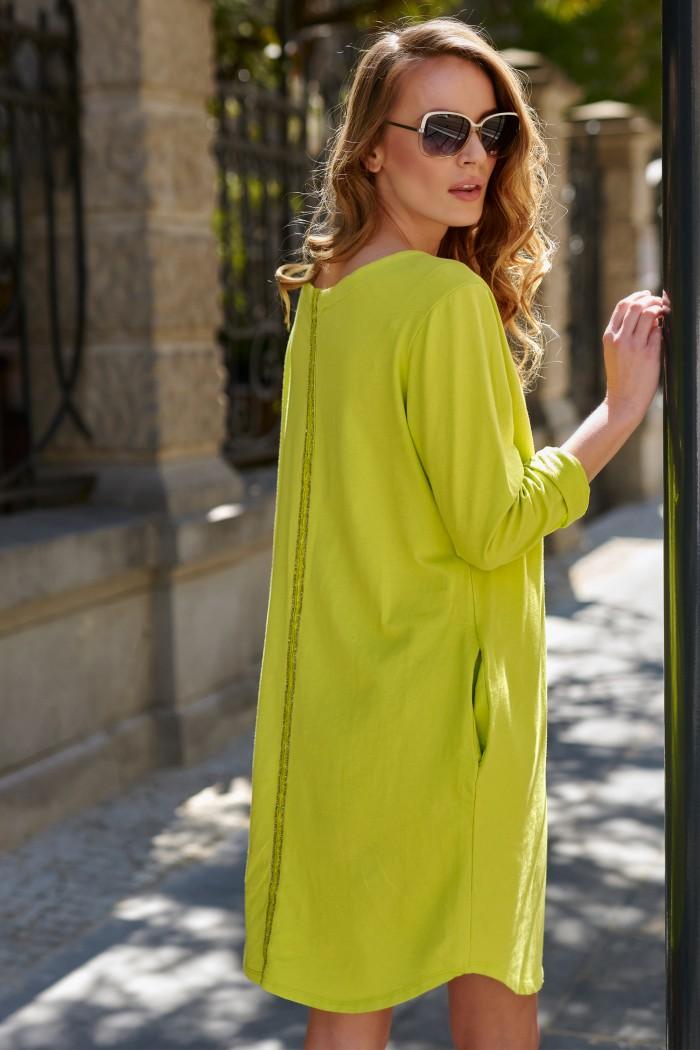 Bawełniana sukienka z aplikacją limonkowa L11
