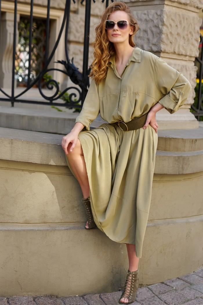 Wiskozowa koszulowa sukienka oliwkowa L9