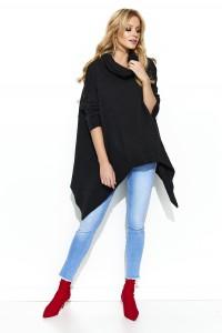 Sweter czarny asymetryczny S67