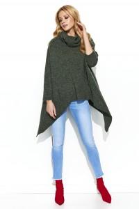 Sweter khaki asymetryczny S67