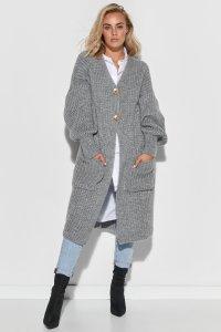 Sweter kardigan z kieszeniami i guzikami szary S101