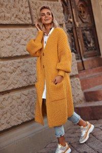 Sweter z kieszeniami i guzikami musztardowy  S101