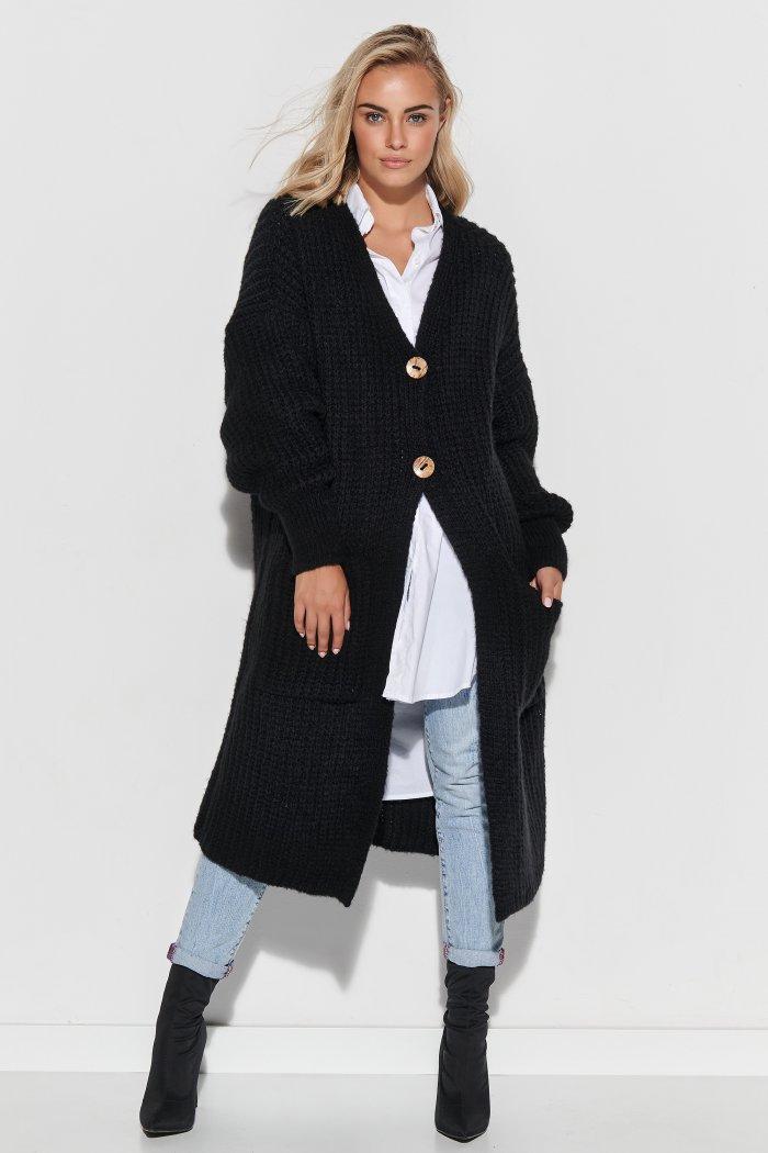 Sweter kardigan z kieszeniami i guzikami czarny S101