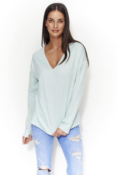 Bluza miętowa z dekoltem NU56