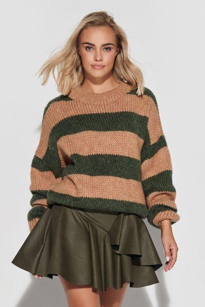 Luźny sweter w paski ze...