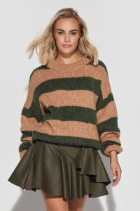Luźny sweter w paski ze ściągaczami camel-khaki S106