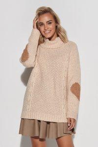 Sweter z golfem i sercami na rękawach beżowy S104