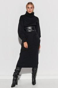 Dzianinowa sukienka z golfem i kieszeniami czarna S105