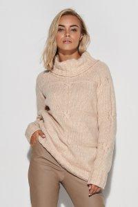 Sweter damski z golfem beżowy S107