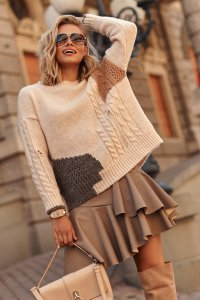 Sweter damski z przetarciami multikolor beżowy S108