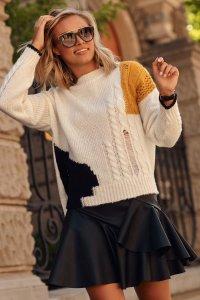 Sweter damski z przetarciami multikolor ecru S108