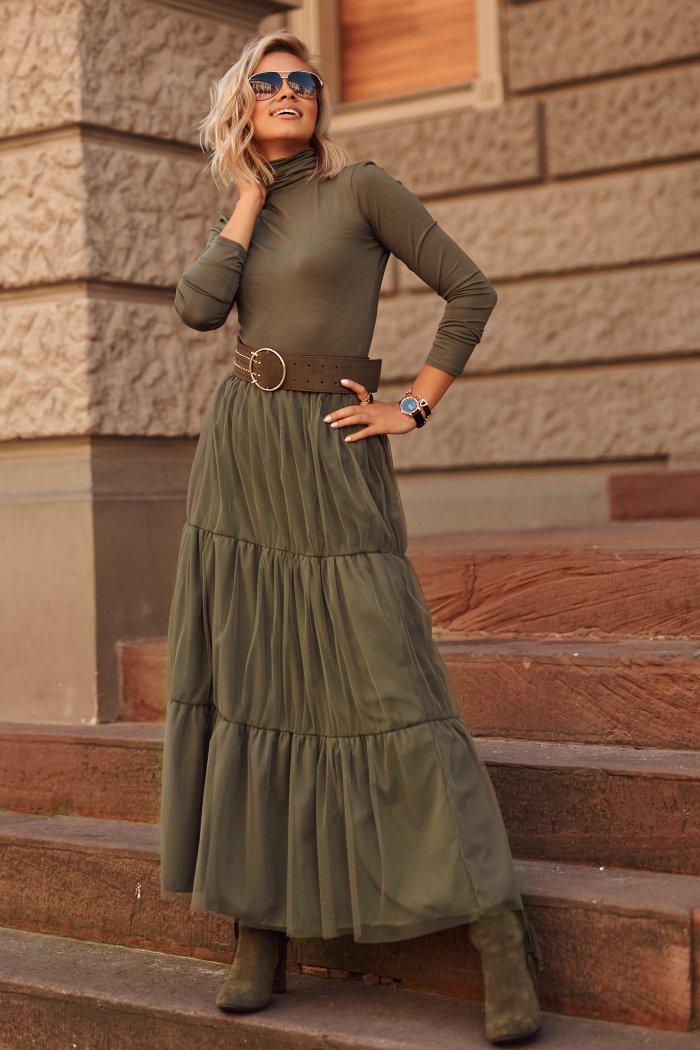 Spódnica tiulowa maxi z obszyciami khaki M567