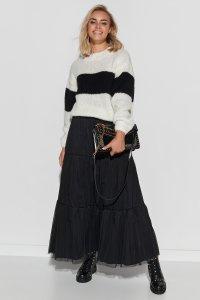 Spódnica tiulowa maxi z obszyciami czarna M567