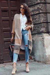 Damski długi sweter otwarty cappuccino NU_S75