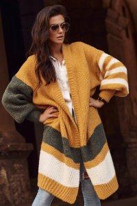 Damski długi sweter otwarty musztardowy NU_S75