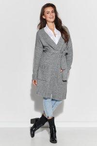 Długi sweter z paskiem i kieszeniami szary NU_S76