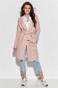 Długi sweter z paskiem i kieszeniami różowy NU_S76