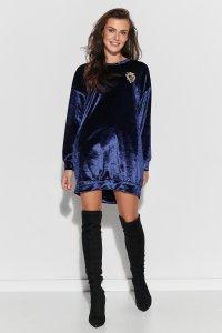 Luźna sukienka z aksamitnego weluru granatowa NU302