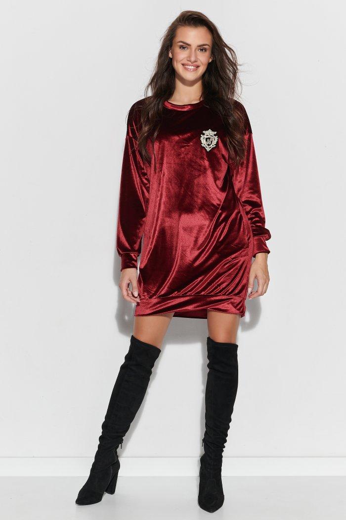 Luźna sukienka z aksamitnego weluru bordowa NU302