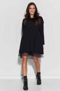 Dresowa sukienka oversize z tiulem czarna NU312