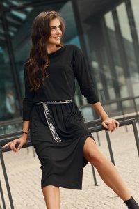 Wiskozowa sukienka midi z paskiem czarna NU325