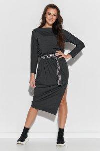 Wiskozowa sukienka midi z paskiem grafitowa NU325