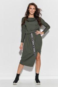 Wiskozowa sukienka midi z paskiem khaki NU325