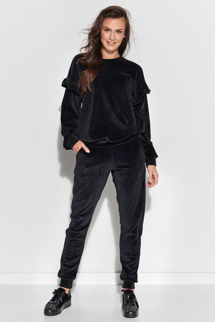 Welurowy komplet dresowy z falbankami czarny NU307