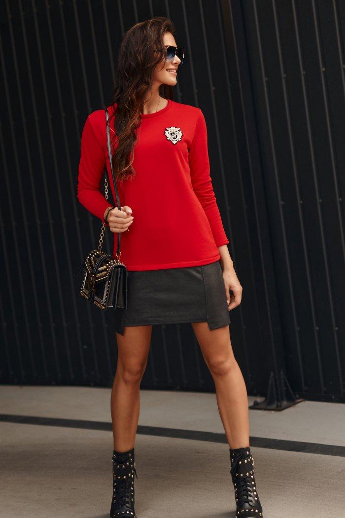 Geometryczna sukienka z eko-skórą czerwona NU313