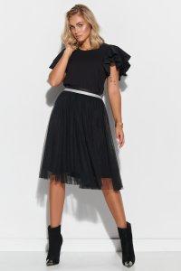 Tiulowa spódnica z ozdobnym pasem czarna M568