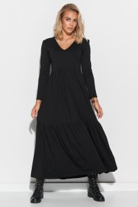 Sukienka maxi z dekoltem w serek czarna M570